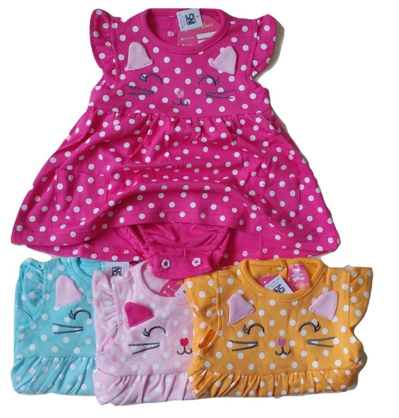 Sett Baju Baby Bayi Dress Jumper Catty Polka - SNI Standart 3-9 Months