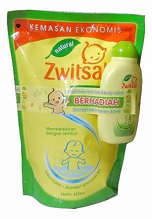 Zwitsal Sabun 450ml 2in1 Pouch plus gift hair lotion 50ml - 67264498